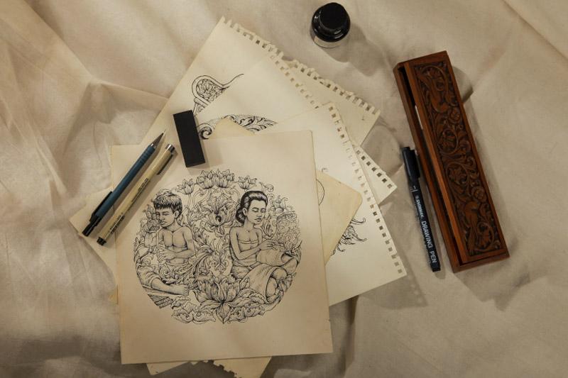 Proses-Kreatif-Sketch-Desain-Kaos-QimoJapara-Jepara